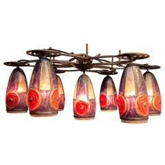 1923 Gabriel Argy-Rousseau Complete Rosaces Chandelier Light Fixture
