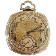 1923 Illinois Pocket Watch, Banker, 14 Karat White Gold Filled, Working, 17