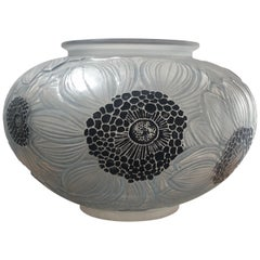 1923 René Lalique Dahlias Vase in Frosted, Black Enamel and Blue Stained Glass