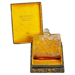 1923 Rene Lalique Elegance D'Orsay Perfume Bottle Glass Sepia Patina Label & Box
