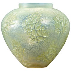 1923 René Lalique Esterel Vase Double Cased Opalescent Glass with Green Patina