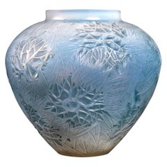 1923 René Lalique Esterel Vase in Double Cased Opalescent Glass with Blue Patina