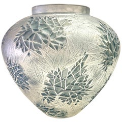 1923 René Lalique Esterel Vase in Frosted Glass with Blue-Grey Patina