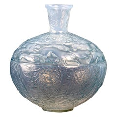 1923 René Lalique Lievres Vase in Double Cased Opalescent Glass with Blue Patina