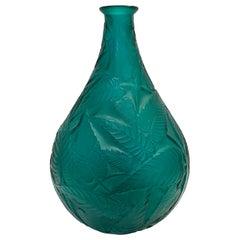 1923 René Lalique Sauges Vase in Tale Green Glass Sage Leaves