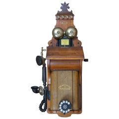 1924 Antique Oak Fyns Kommunale Telefonselskab Wood Wall Crank Telephone