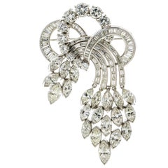 19.24 Carat Platinum Diamond Aria 1950s Brooch