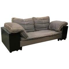 1924, Eileen Gray Classicon Lota Sofa, Grey/Blue-Black Base, Grey Fabric