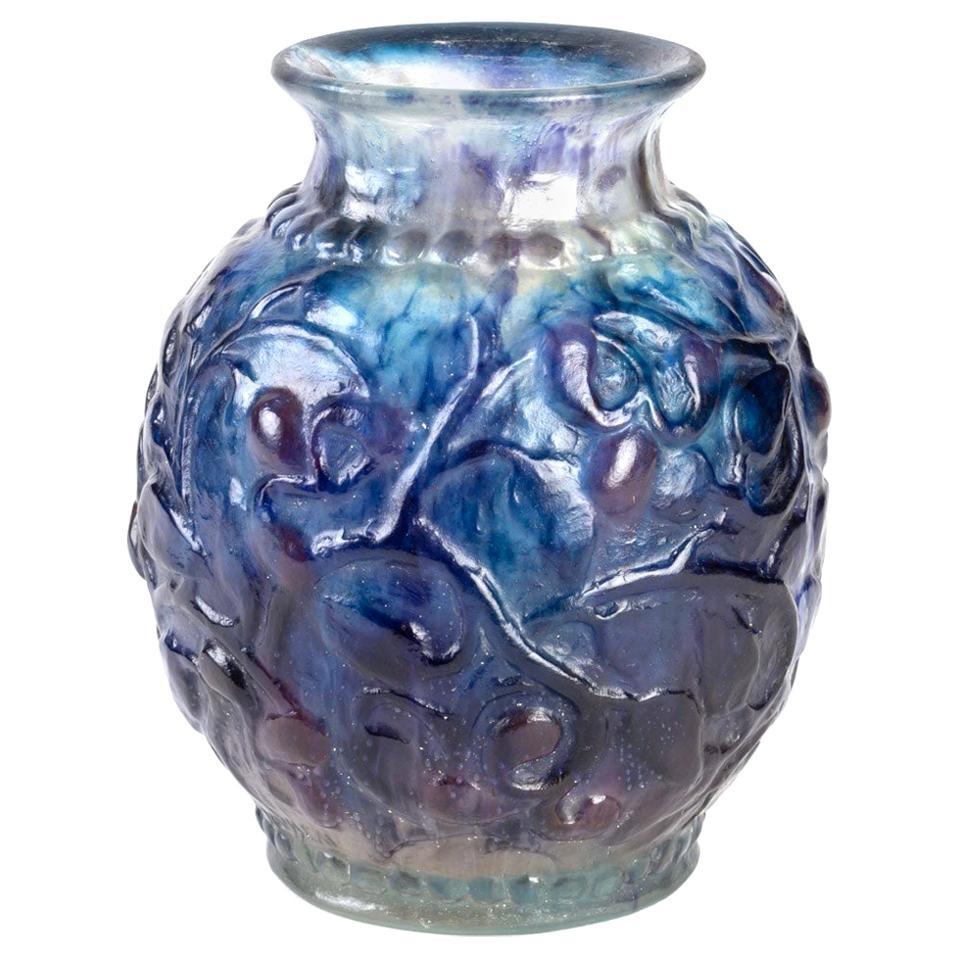 1924 Gabriel Argy-Rousseau Fruits et Feuilles Vase Pate de Verre Glass