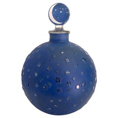 1924 Rene Lalique Dans La Nuit Perfume Bottle for Worth Blue Patina, Big Size