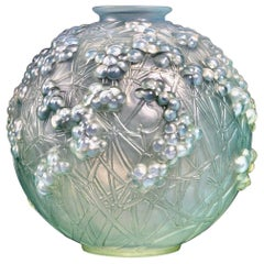 1924 René Lalique Druide Vase in Opalescent Glass with Blue-Green Patina