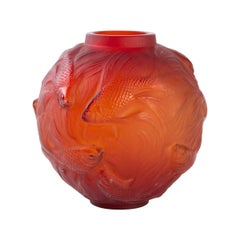 1924 Rene Lalique Formose Vase in Double Cased Red Orange Glass, Fishes Design