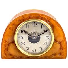 1924 René Lalique Moineaux Clock Butterscotch Glass Original ATO Movement