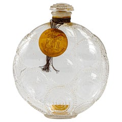 1924 Rene Lalique Relief Perfume Bottle Forvil Frosted Glass with Label