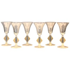 1924 René Lalique Set of 6 Pieces Glasses Savergne Sepia Patina