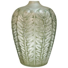 1924 René Lalique Tournai Vase in Frosted Glass with Green Patina