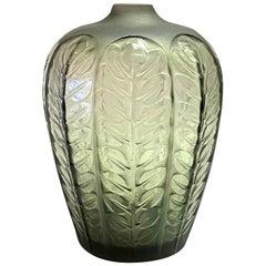 1924 René Lalique Tournai Vase in Grey Glass