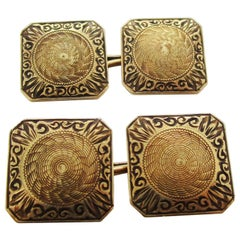 1925 Art Deco 14 Karat Yellow Gold Hayden and Wheeler Cufflinks