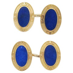 1925 Art Deco 14 Karat Yellow Gold Lapis Cufflinks by Grogan & Co.
