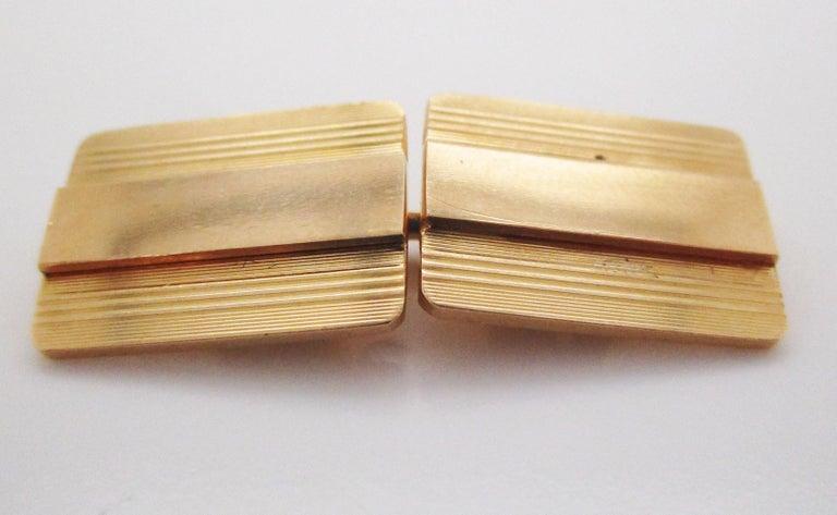 Men's 1925 Art Deco 14 Karat Yellow Gold Cartier Cufflinks For Sale