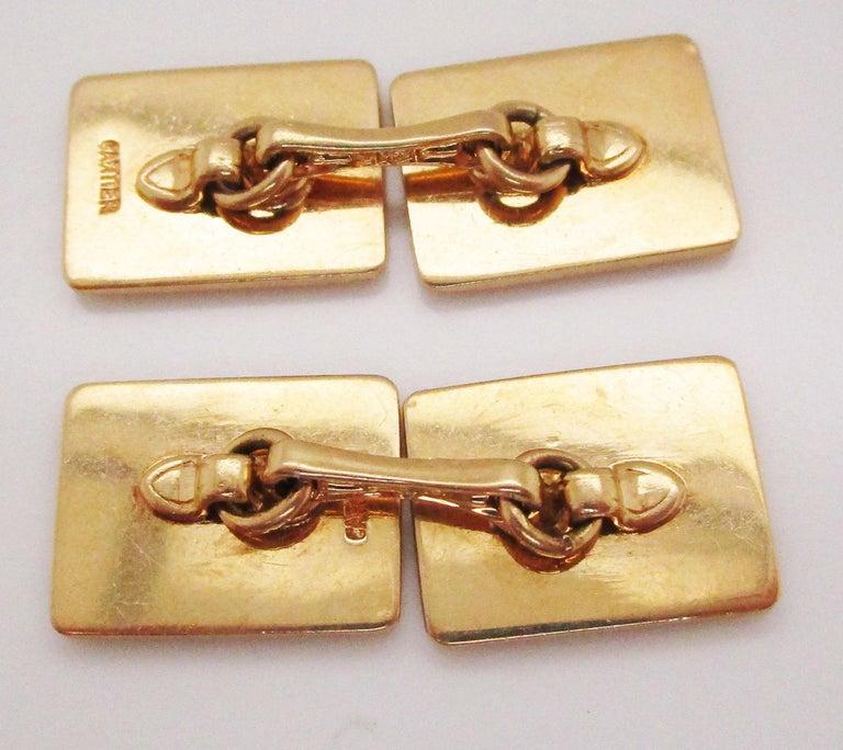 1925 Art Deco 14 Karat Yellow Gold Cartier Cufflinks For Sale 3