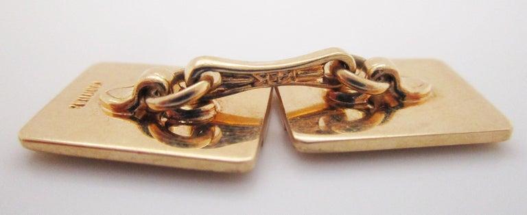 1925 Art Deco 14 Karat Yellow Gold Cartier Cufflinks For Sale 4