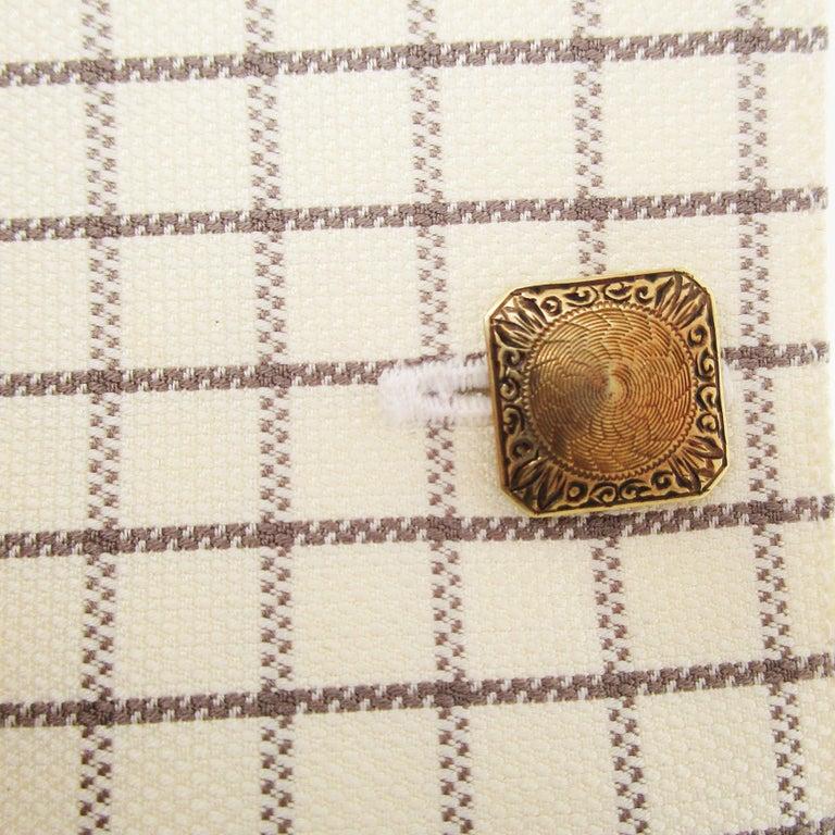 1925 Art Deco 14 Karat Yellow Gold Hayden and Wheeler Cufflinks For Sale 1