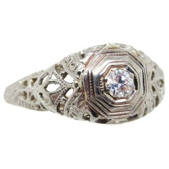 1925 Art Deco 18 Karat White Gold Euro Cut Diamond Filigree Engagement Ring