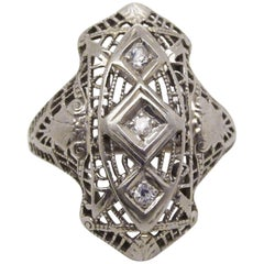 1925 Art Deco 18 Karat White Gold Filigree Diamond Right Hand Ring
