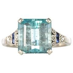 1925 Art Deco 3.50 Carat Aquamarine Diamonds Sapphires Platinum Ring