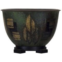 1925 Art Deco Brassware 'Dinanderie' Bowl Lamp, Geometrical Decoration, Belgium