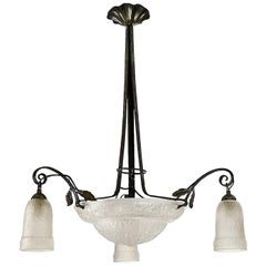 1925 Art Deco Chandelier, Wrought Iron, Pressed Glass, France