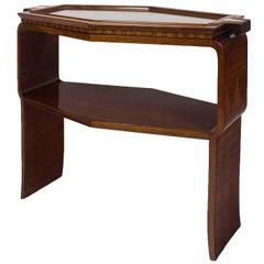 1925 Art Deco Hexagonal Serving Table, Tray, Oak, Mahogany, Brass, France