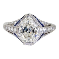1925 Art Deco Platinum Geometric Diamond Sapphire Engagement Ring