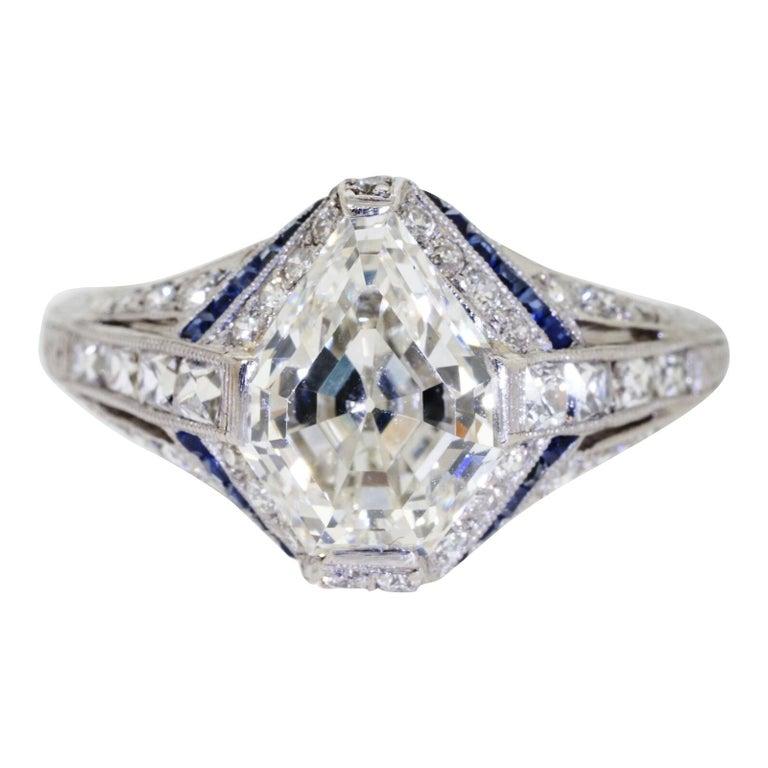 1925 Art Deco Platinum Geometric Diamond Sapphire Engagement Ring, Dreicer For Sale