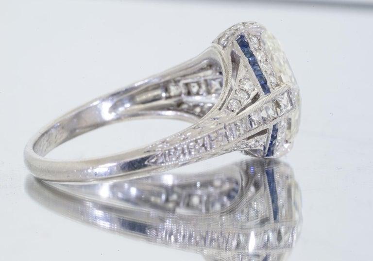Women's 1925 Art Deco Platinum Geometric Diamond Sapphire Engagement Ring, Dreicer For Sale