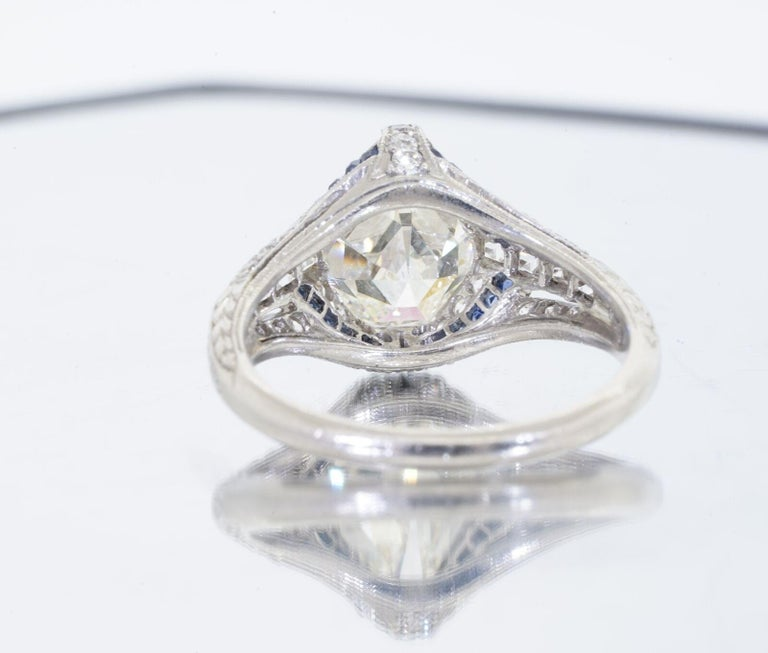 1925 Art Deco Platinum Geometric Diamond Sapphire Engagement Ring, Dreicer For Sale 1