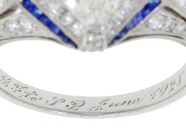 1925 Art Deco Platinum Geometric Diamond Sapphire Engagement Ring, Dreicer For Sale 2