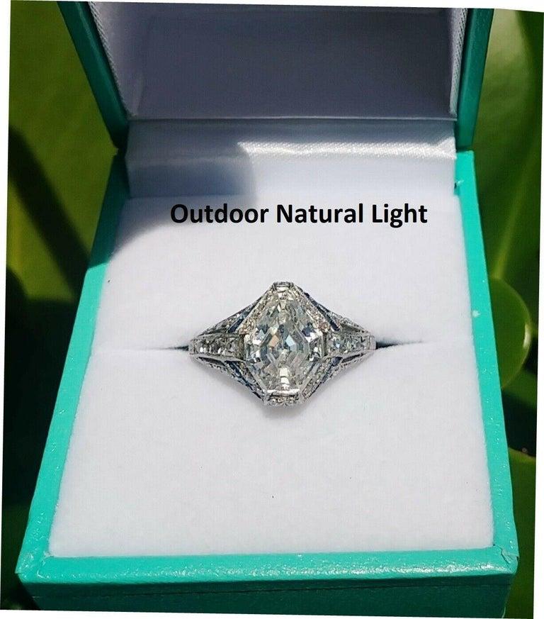 1925 Art Deco Platinum Geometric Diamond Sapphire Engagement Ring, Dreicer For Sale 4