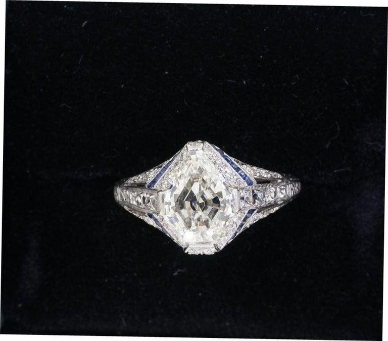 1925 Art Deco Platinum Geometric Diamond Sapphire Engagement Ring, Dreicer For Sale 5