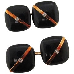 1925 Art Deco Rose Cut Diamonds Onyx 14 Karat Rose Gold Cufflinks