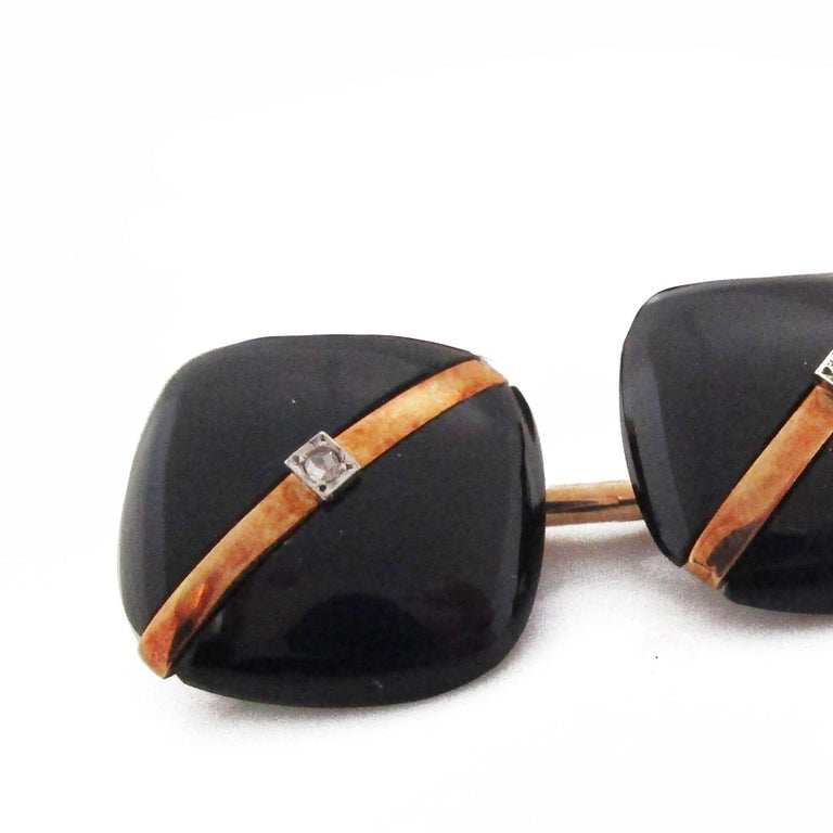 Women's or Men's 1925 Art Deco Rose Cut Diamonds Onyx 14 Karat Rose Gold Cufflinks For Sale