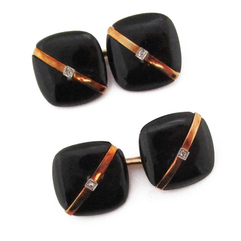 1925 Art Deco Rose Cut Diamonds Onyx 14 Karat Rose Gold Cufflinks For Sale 1