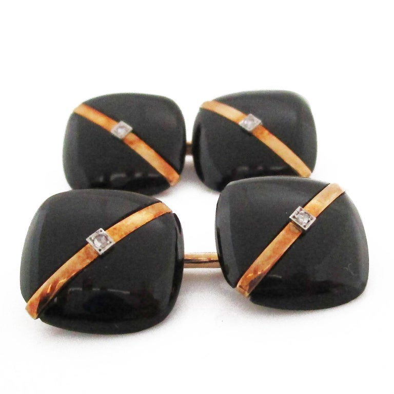 1925 Art Deco Rose Cut Diamonds Onyx 14 Karat Rose Gold Cufflinks For Sale 2