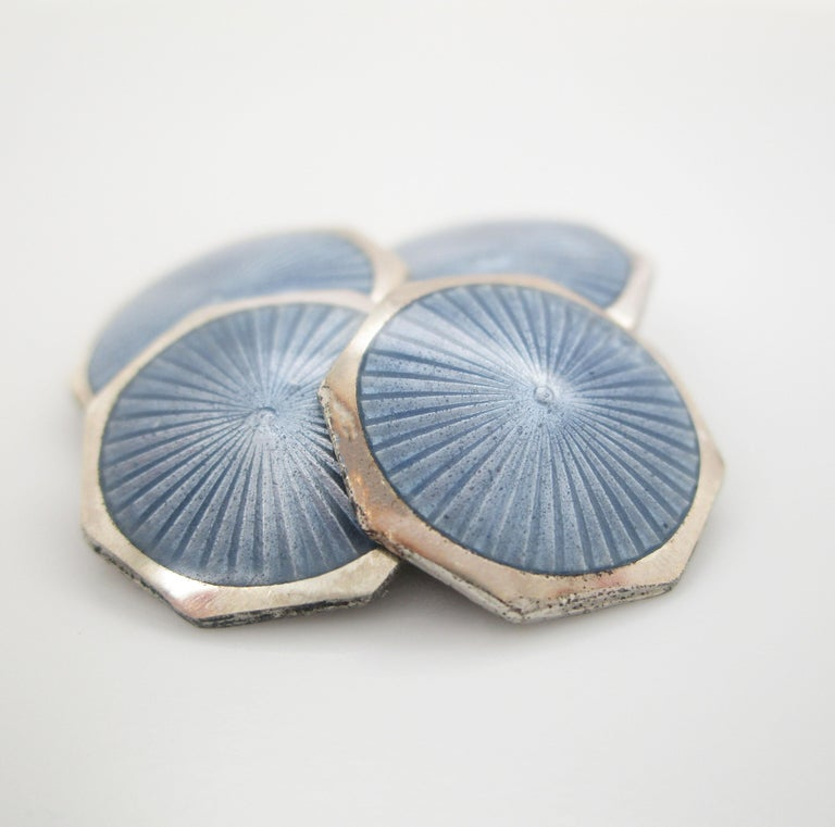1925 Art Deco Sterling Silver Steel Blue Enamel Cufflinks In Good Condition For Sale In Lexington, KY