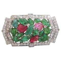 1925 Art Deco Tutti Frutti Carved Emerald, Ruby and Diamond Platinum Brooch