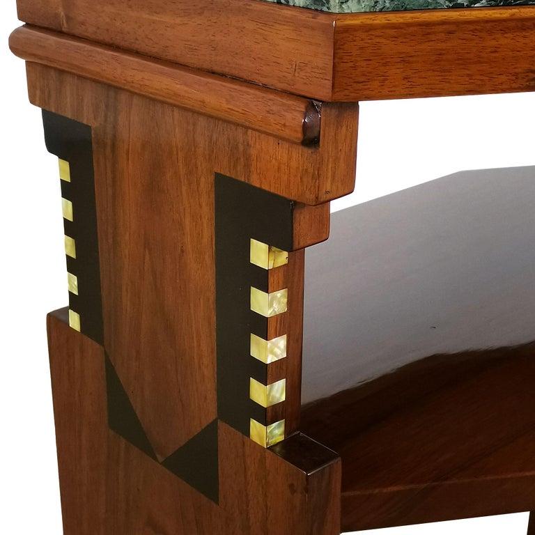 1925 Cubist Art Deco Side Table, Walnut, Marble, Ebony, Belgium For Sale 6