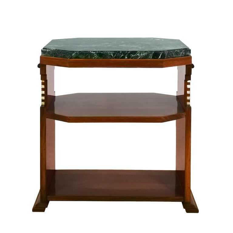 Cubist Art Deco side table, solid walnut and walnut veneer, ebony and false mother of pearl marquetry, french polish. Black, white and green beveled marble on top.  Belgium c. 1925.