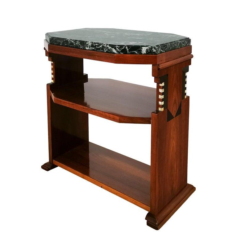 Belgian 1925 Cubist Art Deco Side Table, Walnut, Marble, Ebony, Belgium For Sale