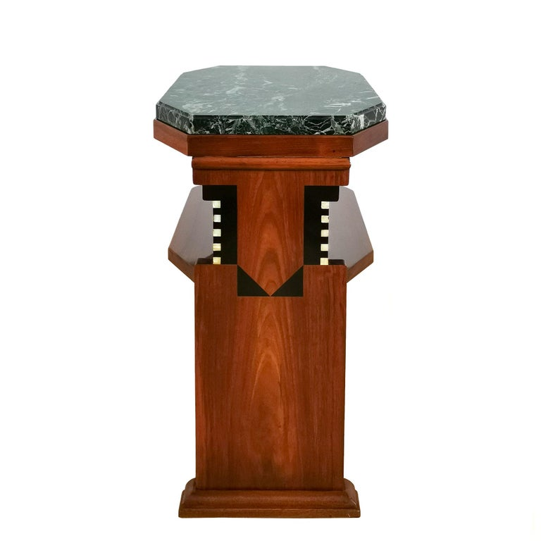 1925 Cubist Art Deco Side Table, Walnut, Marble, Ebony, Belgium In Good Condition For Sale In Girona, ES